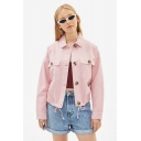 Womens Fashion Simple Plain Long Sleeve Button Front Short Work Jacket