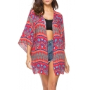 Summer Women's Red Tribal Pattern Beach Cover Up Kimono Blouse