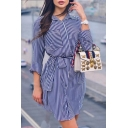Classic Fashion Blue Stripe Printed Long Sleeve Tied Waist Mini Shirt Dress