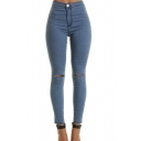 Womens Classic Plain Knee Cut Detail Skinny Fit Denim Jeans
