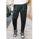 Guys New Fashion Contrast Stripe Side Flap Pocket Gather Cuffs Black Casual Tapered Jeans