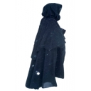 Men's New Stylish Vintage Cosplay Costume Simple Plain Black Hooded Cape Cloak Coat