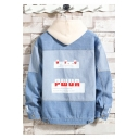 Fashion Letter PWUA Print Long Sleeve Pockets Casual Light Blue Denim Jacket for Guys