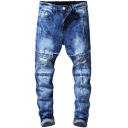 Mens Hot Fashion Knee Pleated Patched Blue Frayed Ripped Biker Jeans