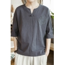 Mens Summer Hot Sale Retro Chinese Style Half Sleeve Embroidery Print Linen Loose T-Shirt
