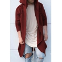 New Trendy Plain Long Sleeve Hooded Open Front Long Jacket Coats for Men