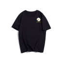 Men's Summer Stylish Cute Floral Print Short Sleeve Round Neck Relaxed Black T-Shirt