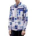 Men's Trendy Vintage Print Button-Up Long Sleeve Lapel Collar Blue Basic Shirt