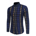 Classic Fashion Plaid Printed Long Sleeve Button Front Colorblock Shirt for Men