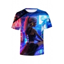 Mens Hot Sale Short Sleeve Round Neck Figure Printed Blue T-Shirt