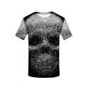 New Stylish Fashion 3D Skull Print Round Neck Short Sleeve Casual T-Shirt in Black