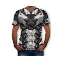Mens Summer Trendy Short Sleeve Round Neck Comic Printed Grey T Shirt