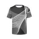 Men's Summer Funny Line Print Short Sleeve Round Neck Casual Black And White T-Shirt