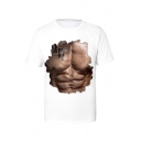 Summer Stylish Muscle Pattern Round Neck Short Sleeve Casual White T-Shirt