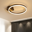 Circular Ring LED Ceiling Fixture Contemporary Minimalist Metal Flush Light in White/Warm