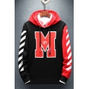 Mens Trendy Colorblock Diagonal Stripes Letter M OFF Printed Casual Loose Drawstring Hoodie