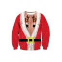 Hot Fashion Christmas Theme Antlers Cosplay 3D Printed Round Neck Long Sleeve Casual Red Pullover Sweatshirt