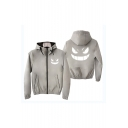 Men's New Stylish Smile Print Zip Closure Long Sleeve Hooded Casual Jacket