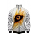 New Stylish Funny Eye Print Zip Closure Long Sleeve Stand Collar Casual White Baseball Jacket