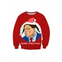 Marry Christmas Funny Trump 3D Printed Long Sleeve Round Neck Red Pullover Sweatshirt