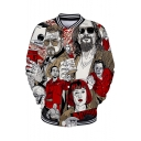 Comic Pattern Stand Collar Long Sleeve Button Down Loose Baseball Jacket