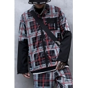 Mens New Stylish Plaid Printed Long Sleeve Lapel Collar Zip Up Fake Two Piece Casual Jacket