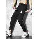 Men's Fashion Letter LYNX Tiger Printed Drawstring Waist Black Cotton Sweatpants