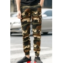 Popular Camouflage Printed Outdoor Straight Slim Casual Cargo Pants with Side Pocket