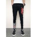 Mens New Fashion Letter Stripe Printed Drawstring Waist Slim Fit Black Casual Sports Pencil Pants