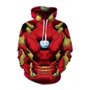 Hot Comic Cosplay 3D Printed Drawstring Hooded Long Sleeve Red Pullover Hoodie