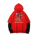 Letter THE HERO IS POWERFUL Printed Fake Two Pieces Long Sleeve Casual Drawstring Hoodie