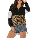 Fashionable Long Sleeve Colorblock Leopard Printed Zippered Loose Hoodie