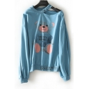 Cute Cartoon Teddy Bear Letter Printed Cold Shoulder Long Sleeve Casual Sweatshirt