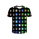 Men's Summer Funny Comic Print Round Neck Short Sleeve Leisure Black T-Shirt
