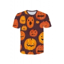 Hot Fashion Halloween Pumpkin Pattern Round Neck Short Sleeve Orange T-Shirt