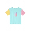 Trendy Kpop Logo Printed Color Block Round Neck Short Sleeve T-Shirt