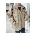 Guys New Style Fashion Letter SUMNY Pattern Long Sleeve Zip Up Hooded Loose Jacket Coat