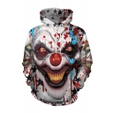 New Fashion Cool Clown Blood 3D Printed Long Sleeve White Loose Hoodie