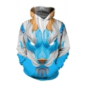 New Fashion Cool Abstract Wolf 3D Printed Long Sleeve Casual Blue Loose Hoodie