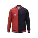 Mens New Arrival Popular Stand Collar Long Sleeve Letter Colorblock Print Denim Jacket