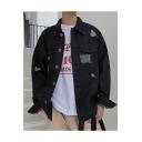 Mens Vintage Distressed Ripped Lapel Collar Long Sleeve Casual Loose Black Denim Jacket