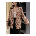 Vintage Floral Print Lapel Collar Long Sleeve Causal Blazer with Pocket