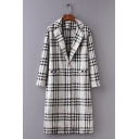 Fashion Plaid Pattern Notch Lapel Pocket Front Single Button Longline Trench Coat