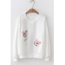 Cute Letter Mickey Mouse Embroidered Round Neck Long Sleeve Pullover Sweatshirt