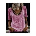 Summer New Arrival Plain V-Neck Short Sleeve Pullover Casual T-Shirt For Women