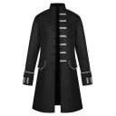 Men's New Stylish Vintage Cosplay Costume Simple Plain Long Sleeve Cape Cloak Coat