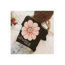Girls New Stylish LOVERS Letter Floral Print Round Neck Short Sleeve T-Shirt