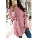 New Fashion Plain Long Sleeve Knit Loose Hoodie
