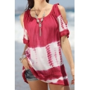 Womens Summer Sexy Round Neck Cutout Short Sleeve Tie Dye Print Cami Top