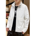 Guys New Trendy Plain Long Sleeve Stand-Collar Zip Up Casual Trench Jacket Coat With Pockets
